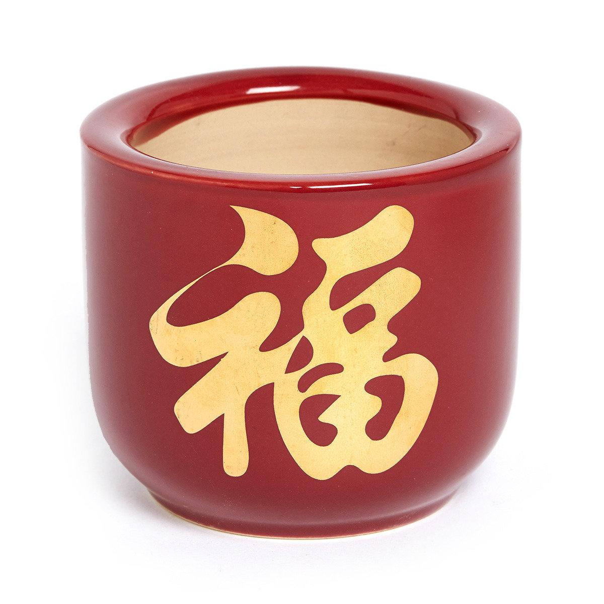 硃紅福字香爐(大)