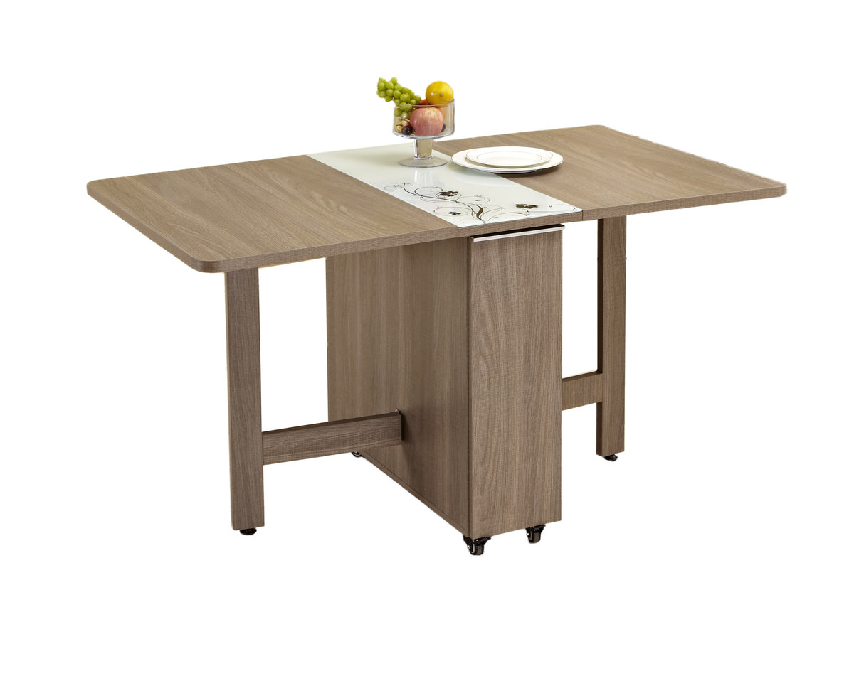 Ash Wood With Tempered Glass Folding Table