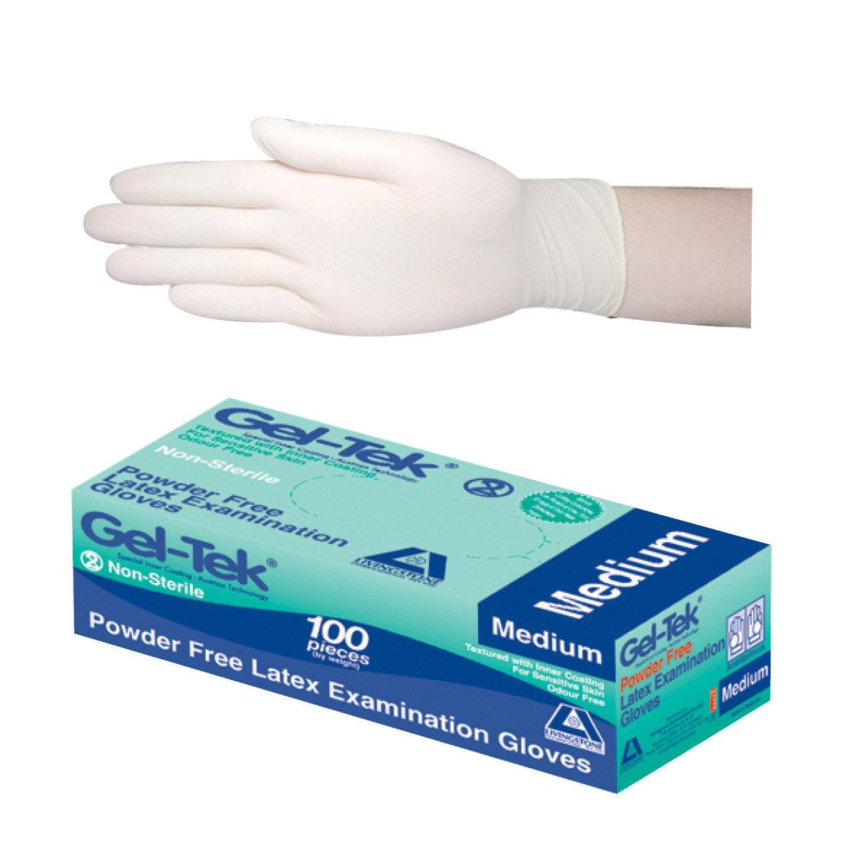 Livingstone Gel Tek Latex Examination Gloves Powder Freemedium Dettol Bar Soap Cool 105 Gr 5 Pcs Size 100 Pieces