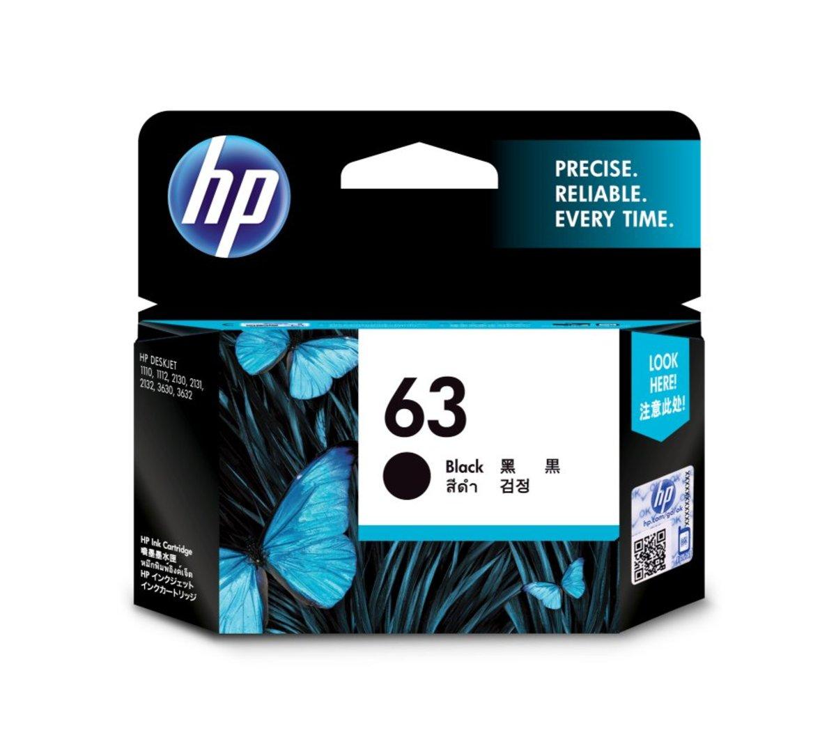 HP 63 黑色油墨盒(標準裝 F6U62AA)
