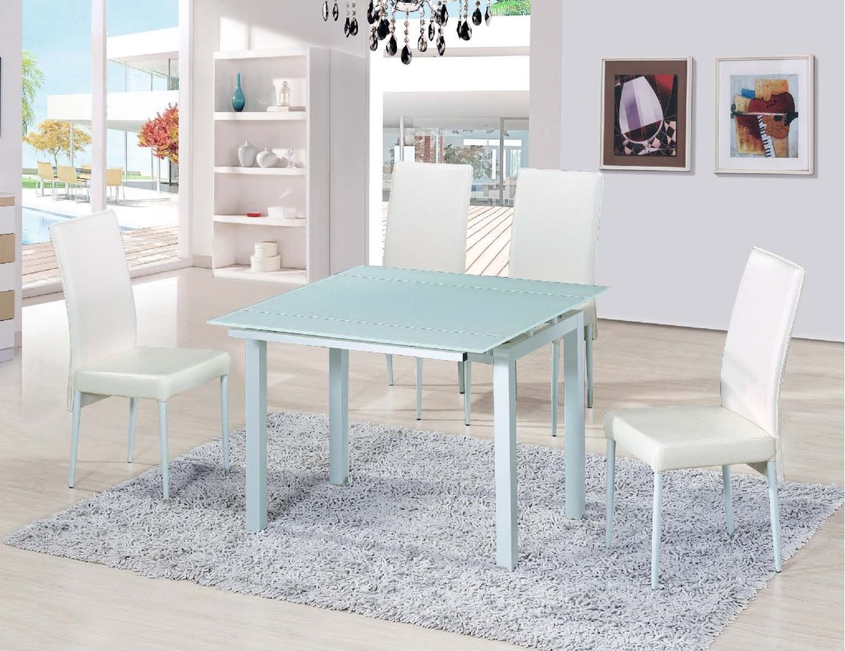 TOPFURN   Extention Tempered Glass Dining table and 4 chairs set DT ...