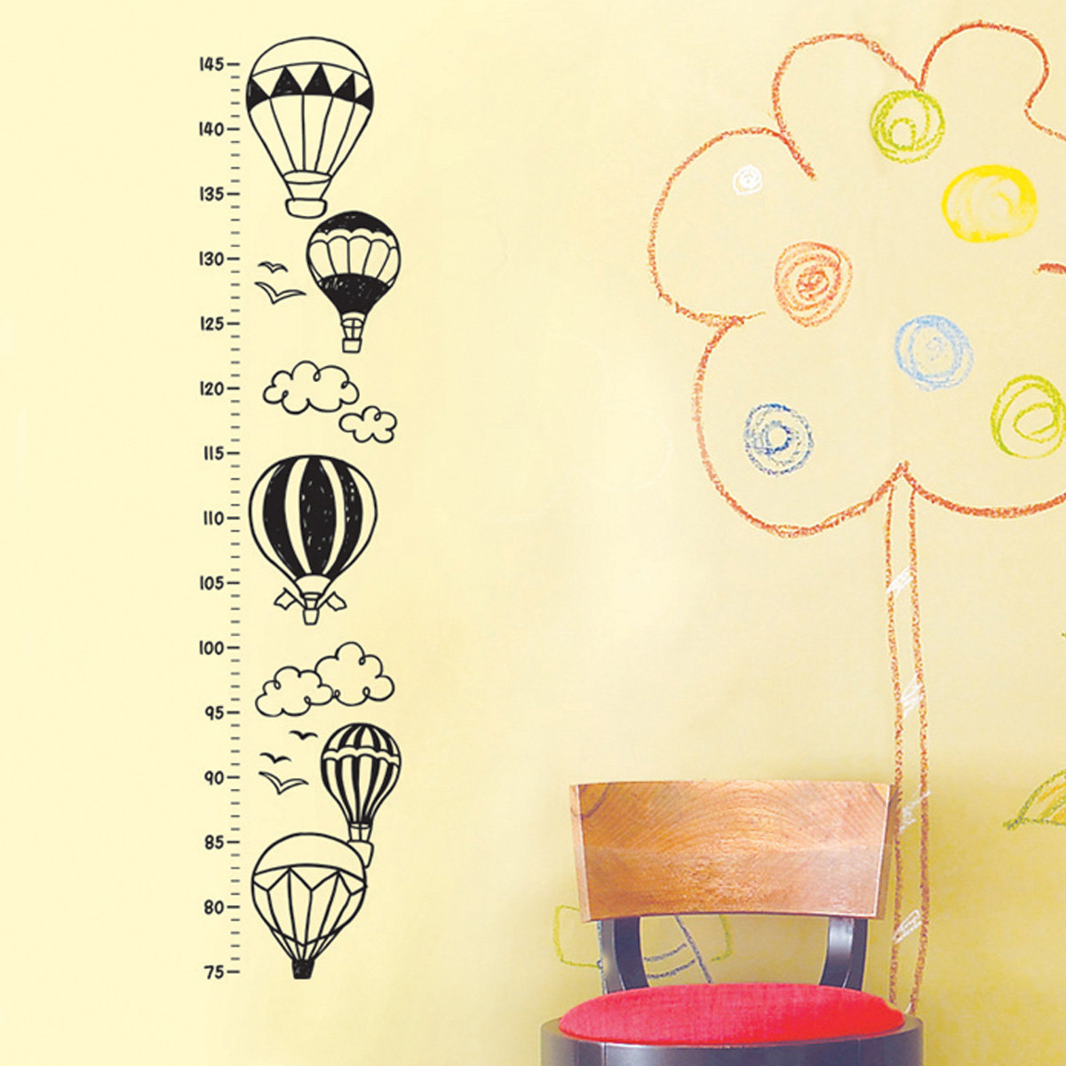 Magicfix Growth Chart Wall Sticker Balloons In Sky 1875cm