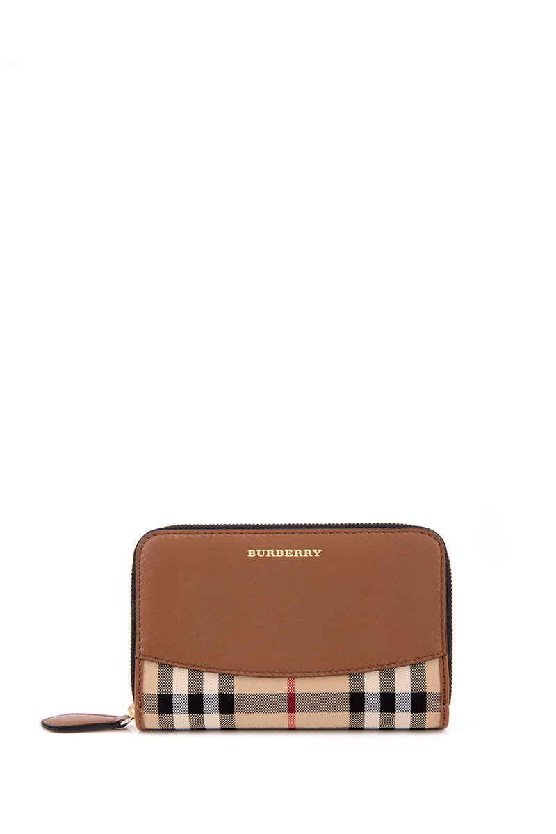 Horseferry Check And Leather Ziparound Wallet - Brown - BBWTIBWH00085