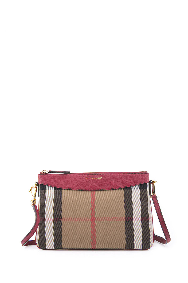 Canvas Check And Leather  Clutch Bag - Brown - BBWTIBWH00203