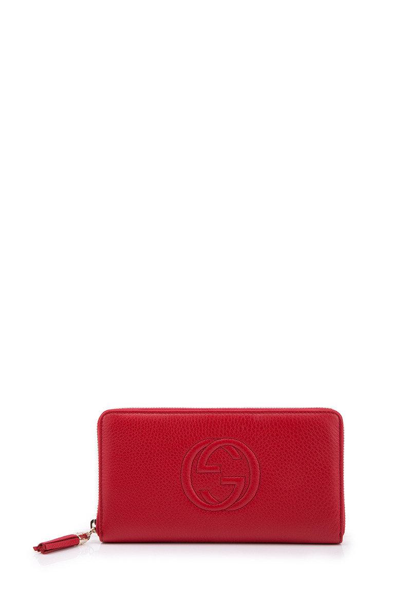 Leather Tassel Zip Wallet - Red - GCWTISSH00078