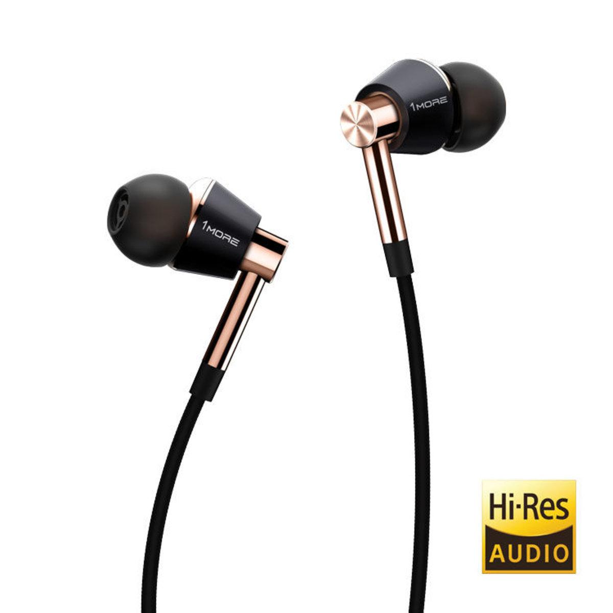 E1001 Triple-Driver In-Ear Headphones - Black/Gold