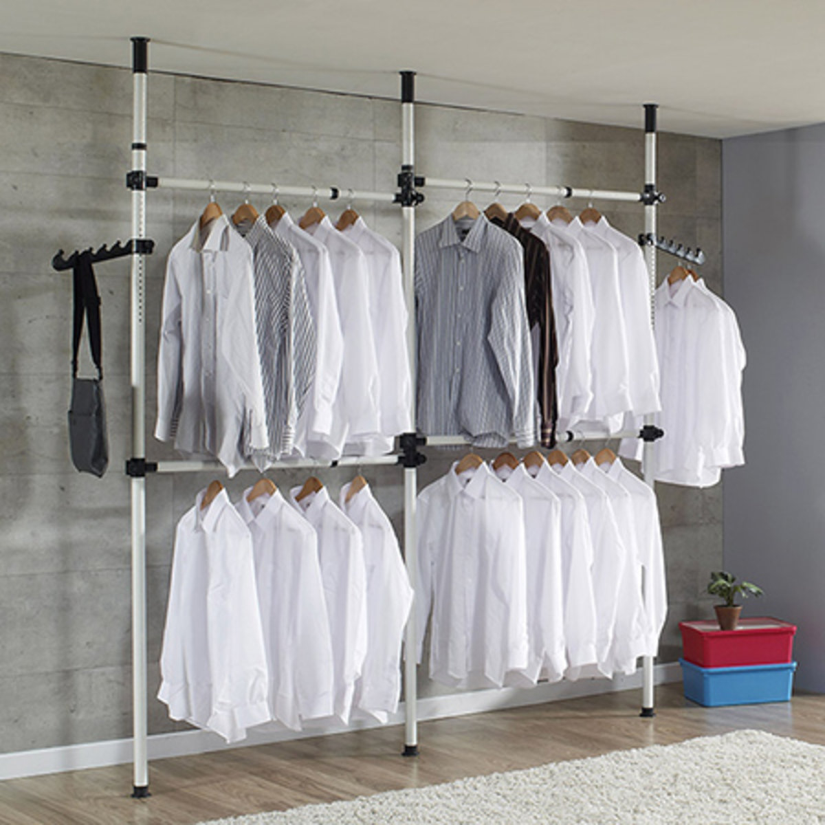 Floor To Ceiling 3 Poles Multi Function Clothes Rack White Rk827