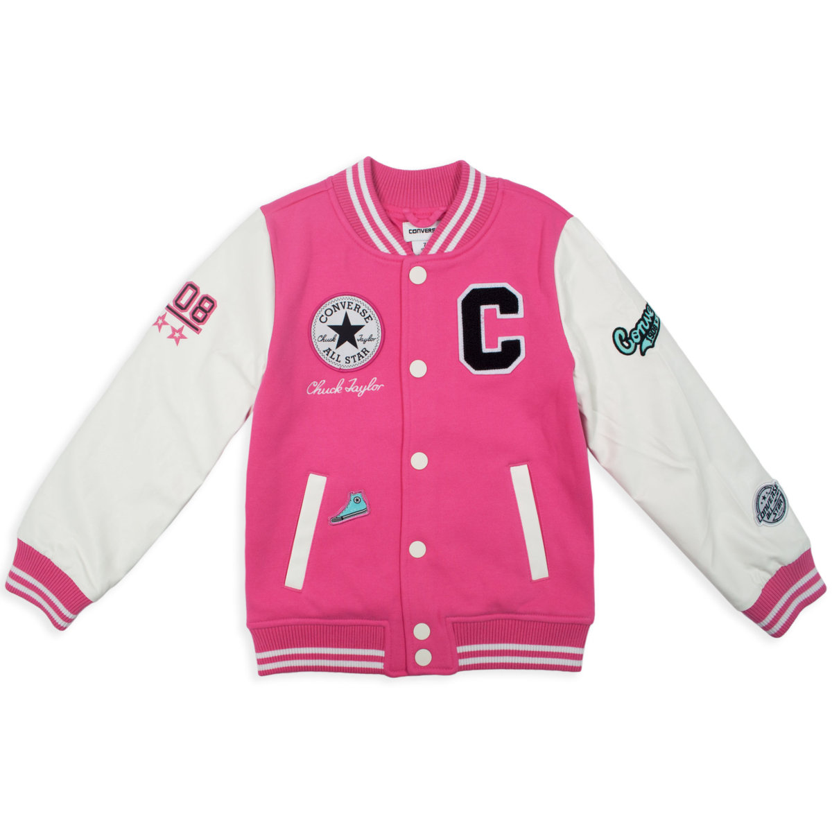 ee49656622fd1f CONVERSE Girls  Knit Varsity Jacket