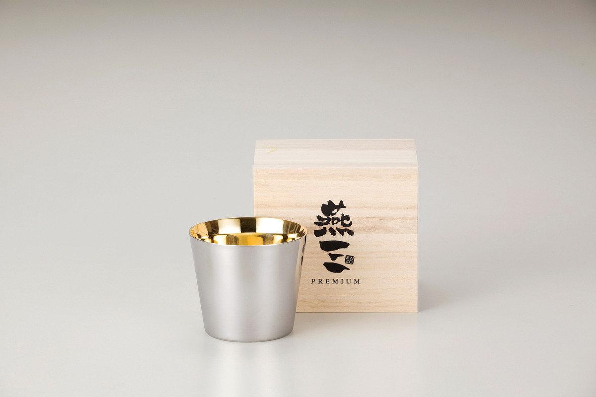 燕三Premium二重結構不銹鋼清酒杯 260ml(內層電鍍金) EM9401