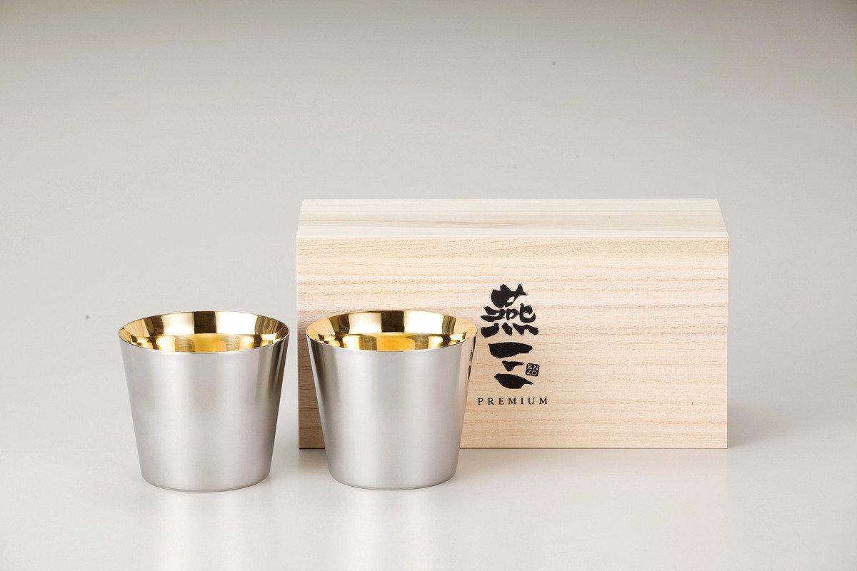 燕三Premium二重結構不銹鋼清酒杯 260ml(內層電鍍金)2件套裝 EM9402