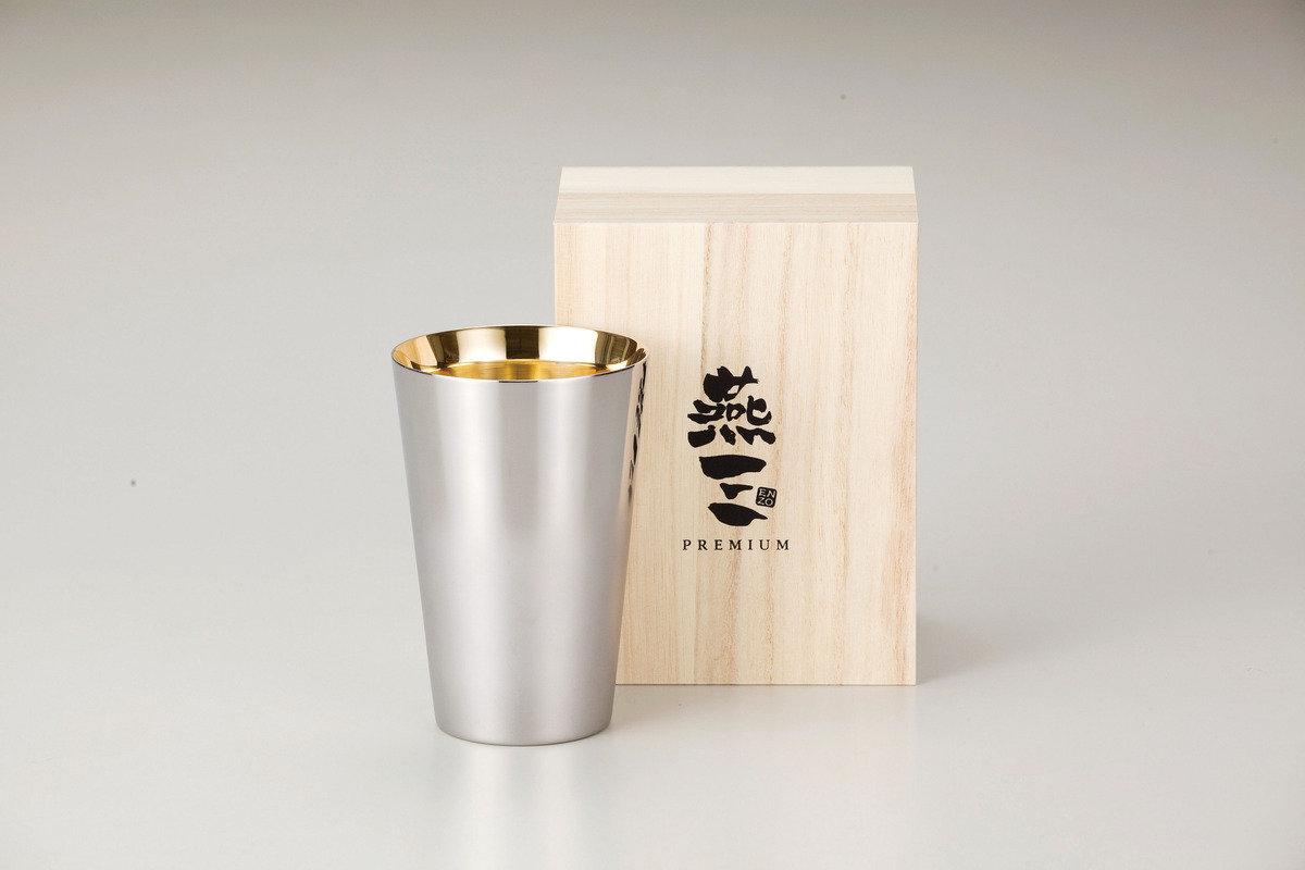 燕三Premium二重結構不銹鋼杯 390ml(內層電鍍金) EM9409