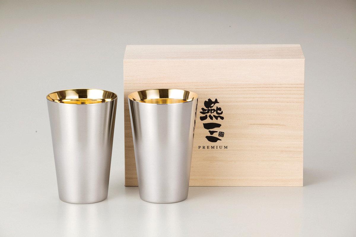 燕三Premium二重結構不銹鋼杯 390ml(內層電鍍金)2件套裝 EM9410