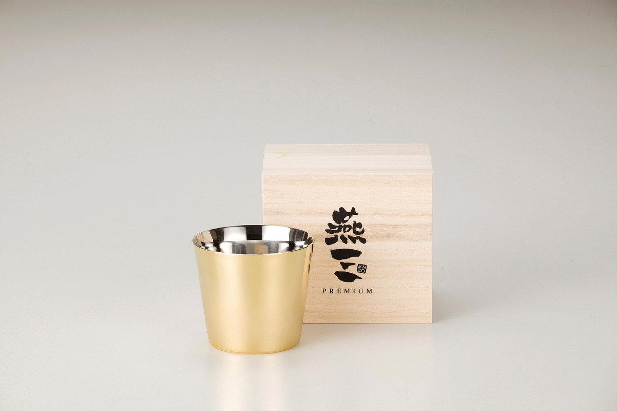燕三Premium二重結構不銹鋼清酒杯 260ml(外層電鍍金) EM9403