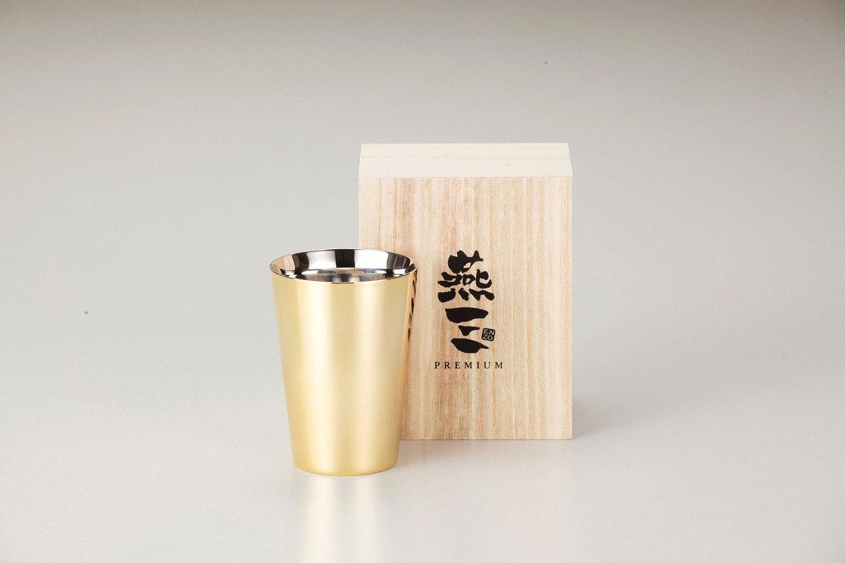 燕三Premium二重結構不銹鋼杯 270ml(外層電鍍金) EM9407