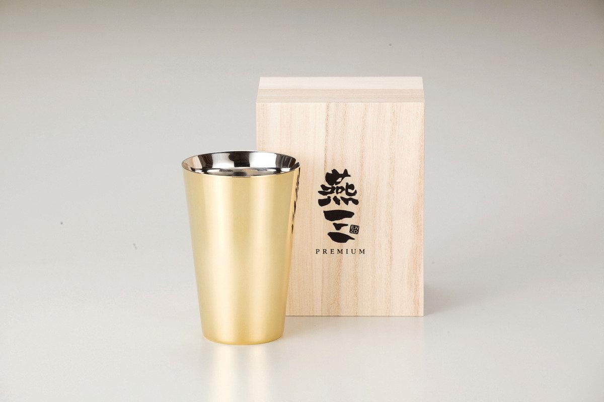 燕三Premium二重結構不銹鋼杯 390ml(外層電鍍金) EM9411
