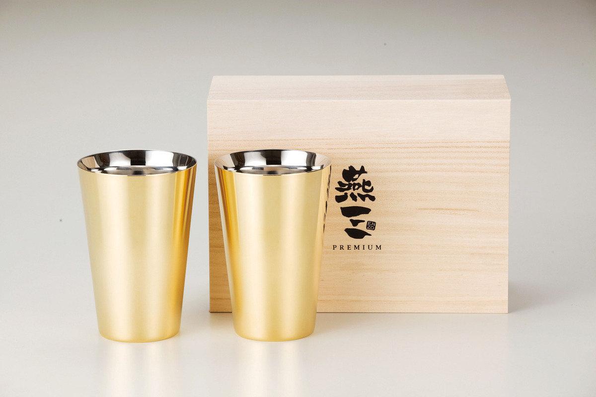 燕三Premium二重結構不銹鋼杯 390ml(外層電鍍金)2件套裝 EM9412