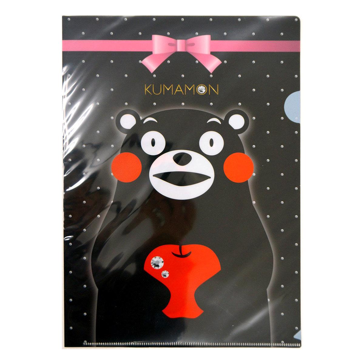 KUMAMON A4 透明文件夾(黑色蝴蝶結)