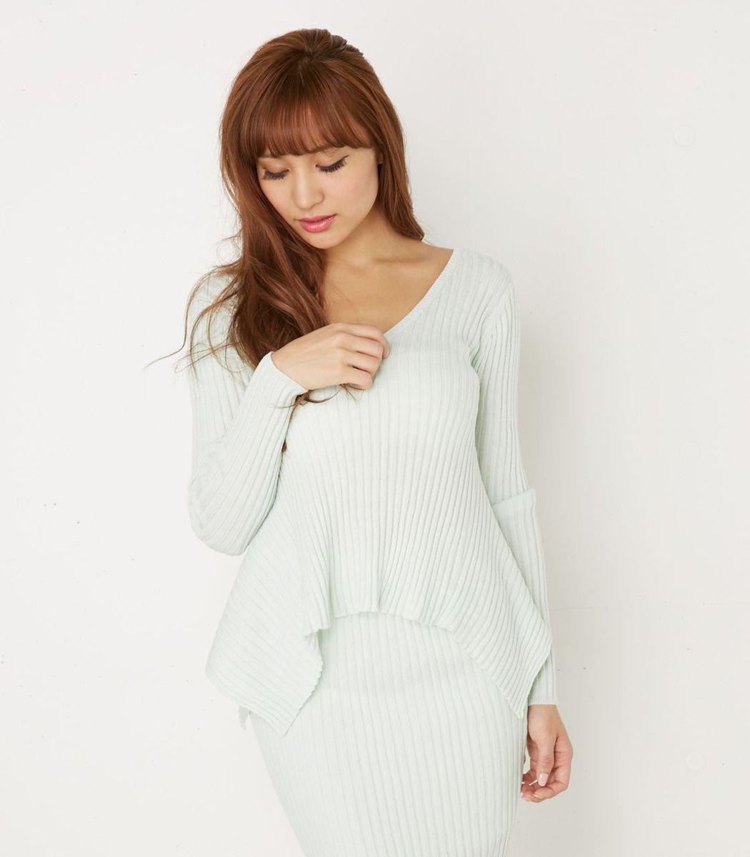 內彎下襬V領針織衫