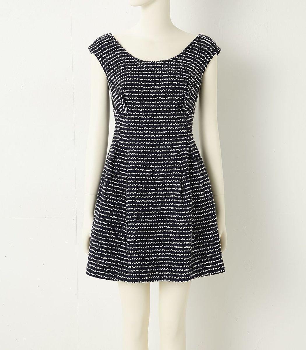圓領橫間紋連身裙