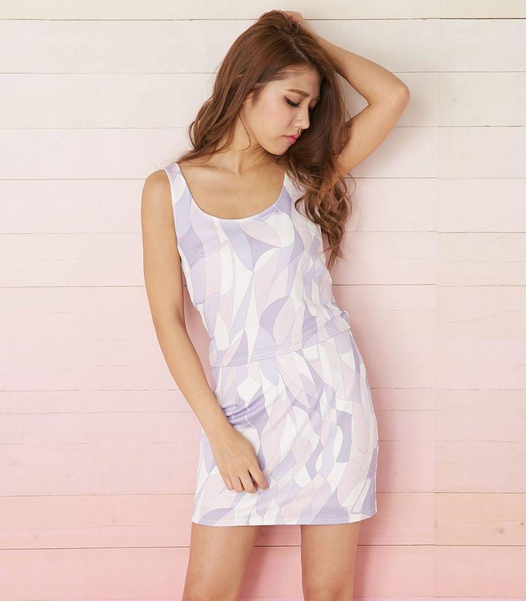 混色幾何紋連身裙