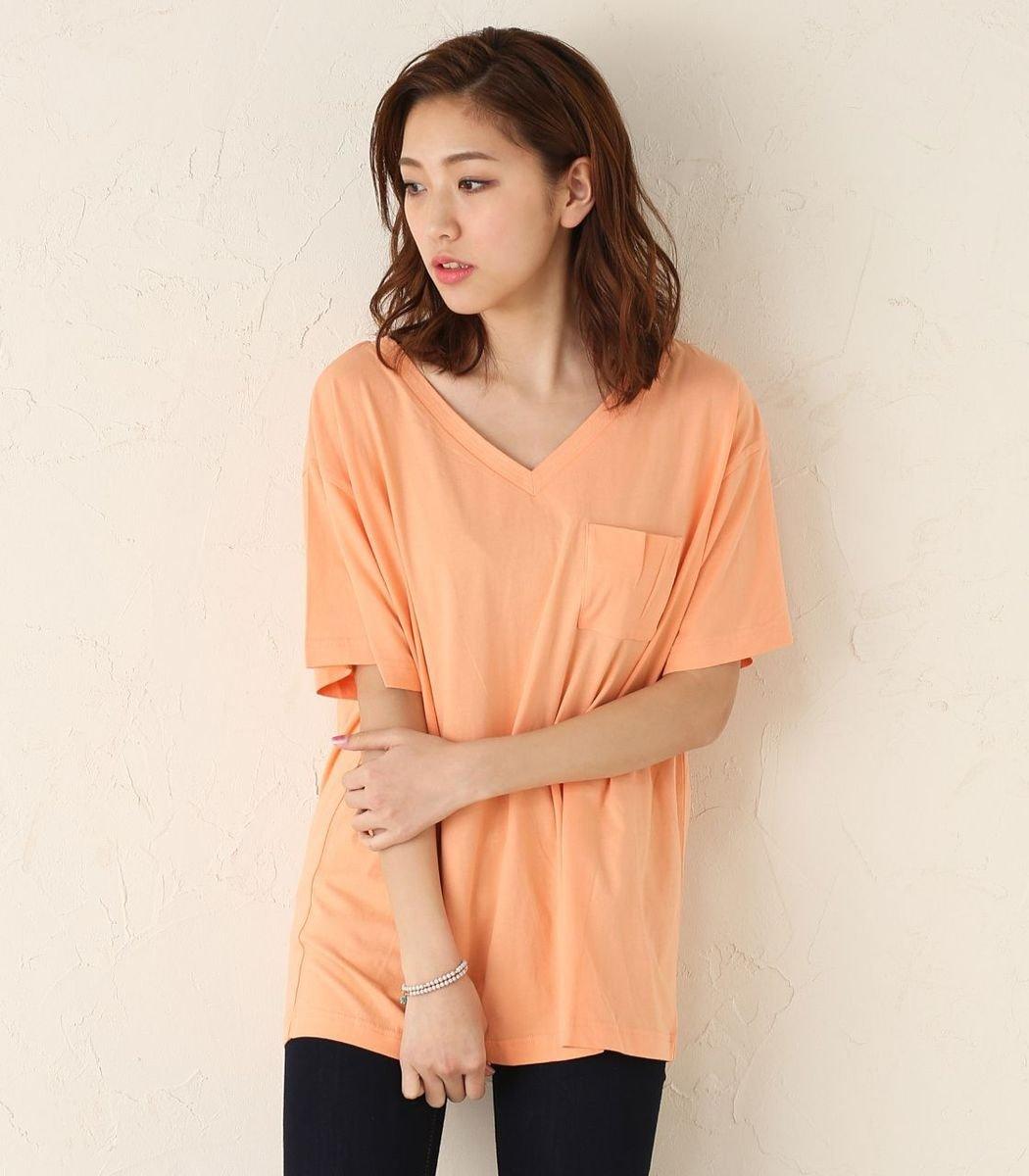 棉質V領寬鬆T恤