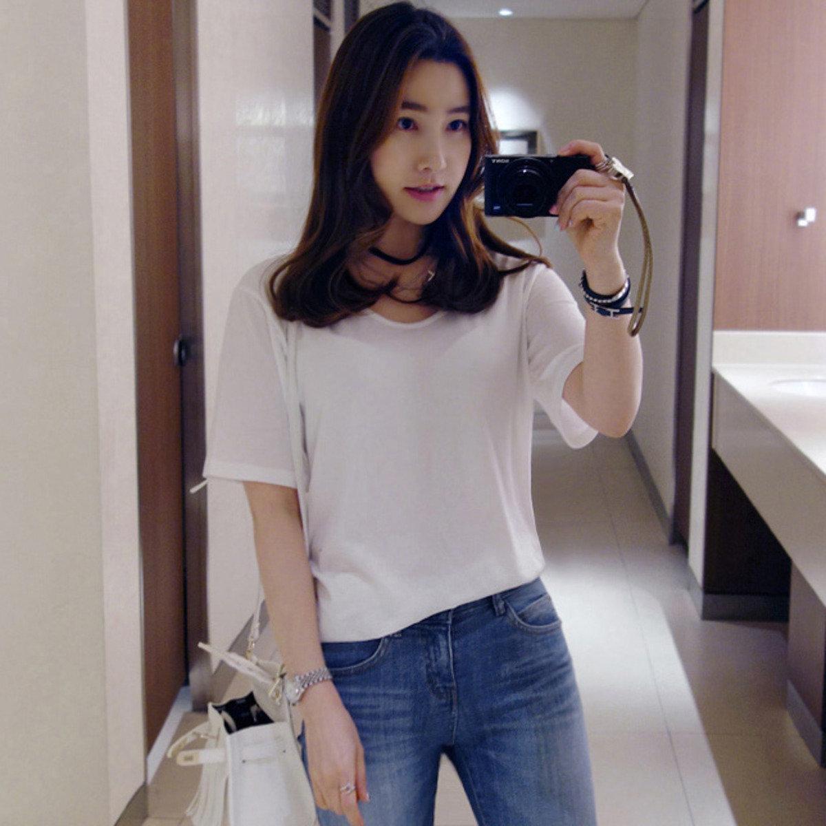 U 領純色短袖 T 恤_P000CCSS