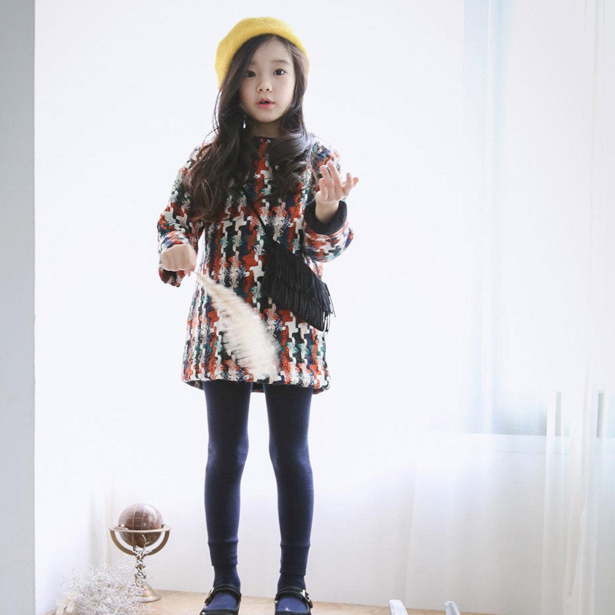 [15 W] 彩色花絨連身裙_S61509