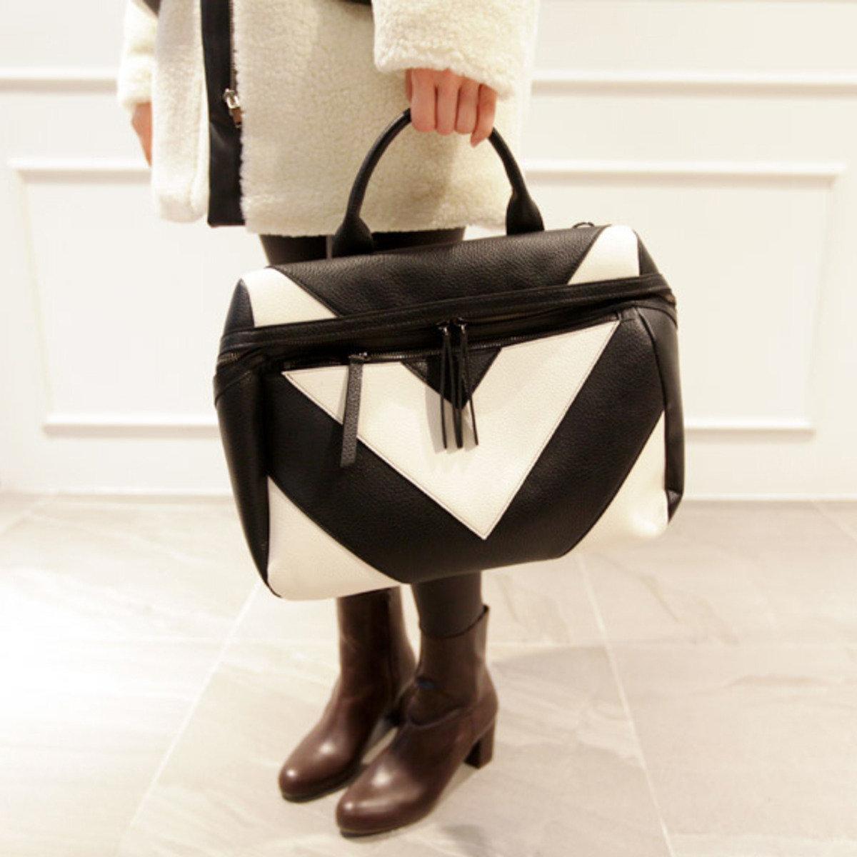 黑白圖案手袋(手挽/斜揹兩用)_P000BAIL