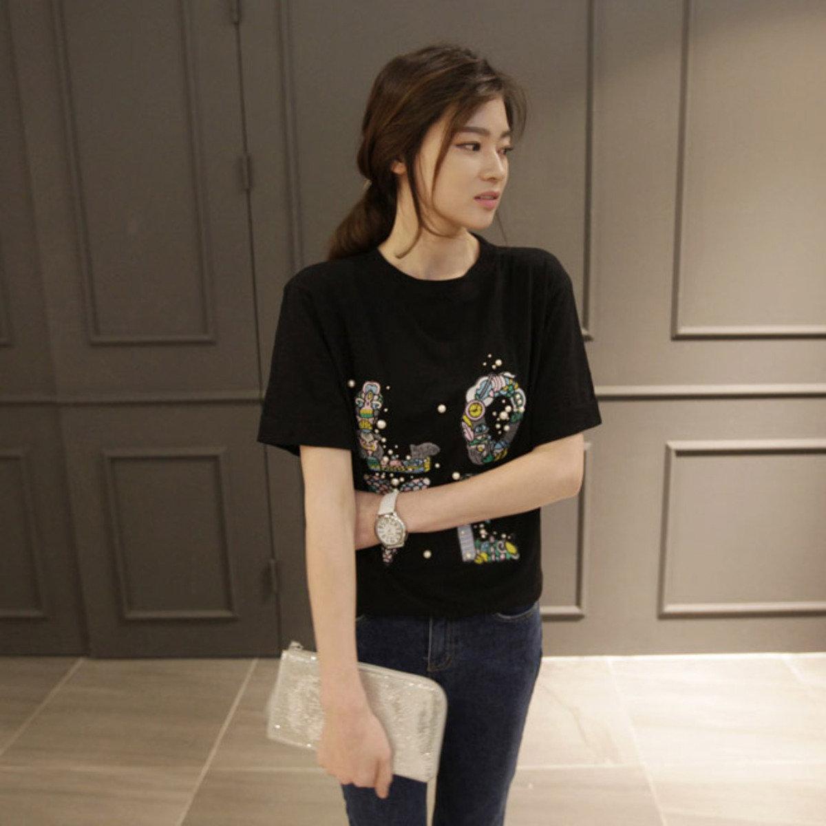 時尚刺繡圖案 T 恤_P000BAUM