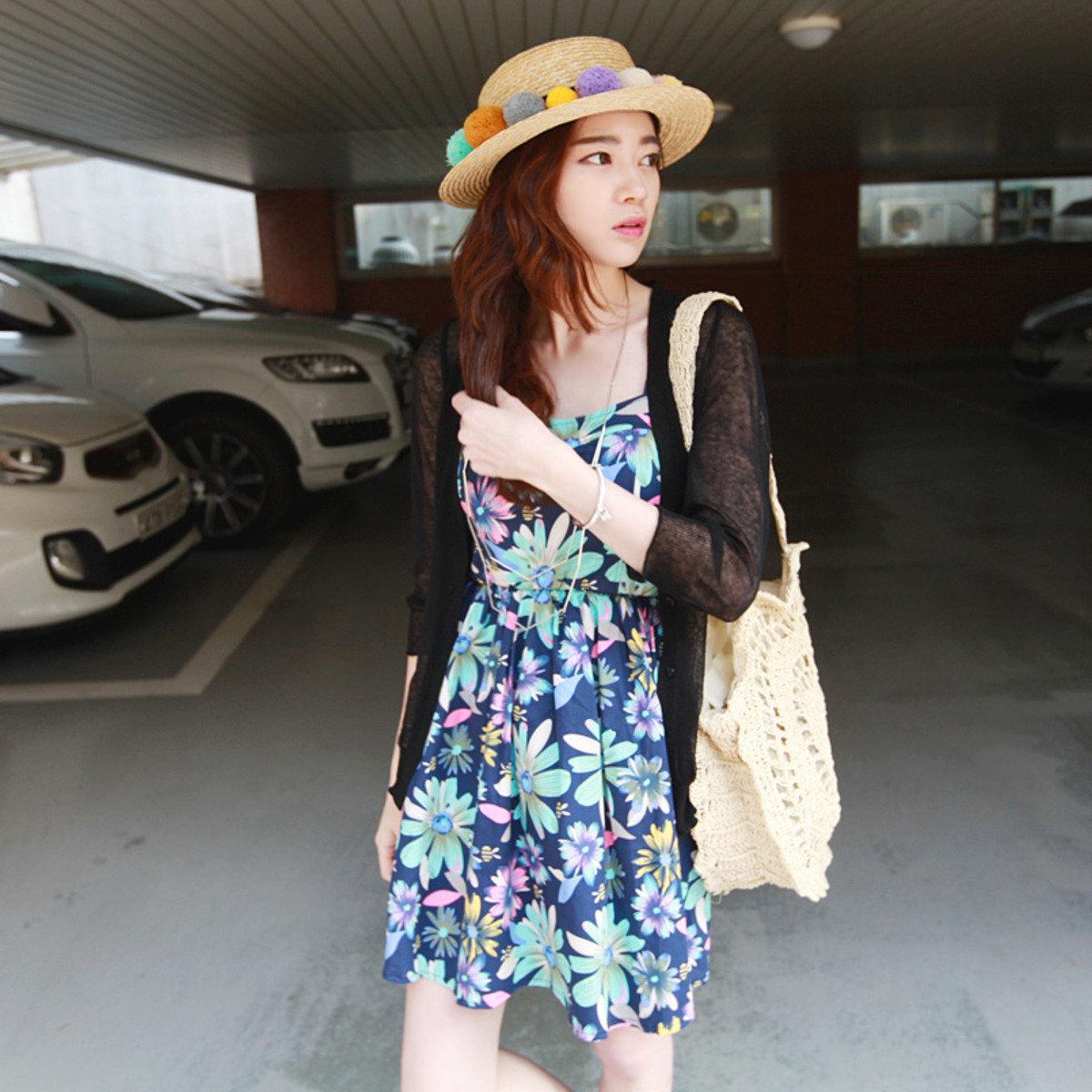 彩色花花圖案吊帶裙_P000BBFY