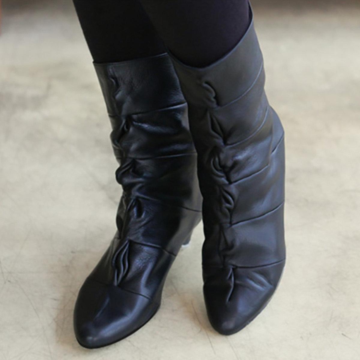 扭紋縐褶低跟中靴_s3323
