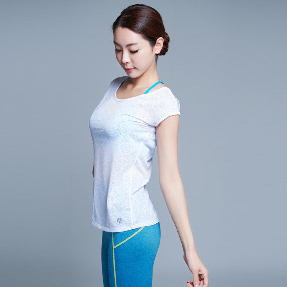 白色瑜珈T恤_y042