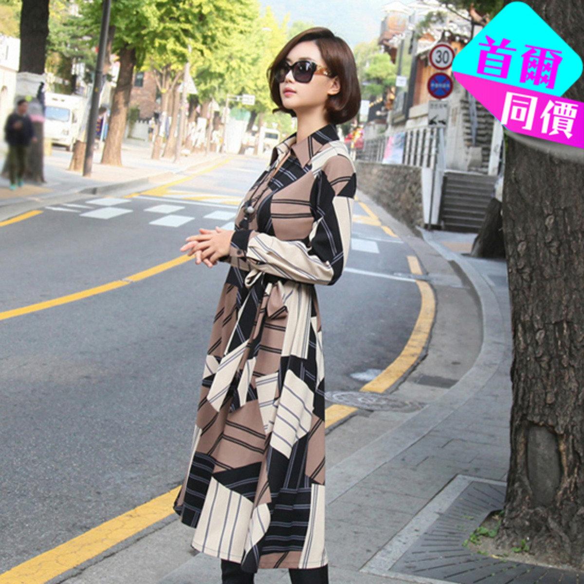 斜疊襟圖案連身裙_24982