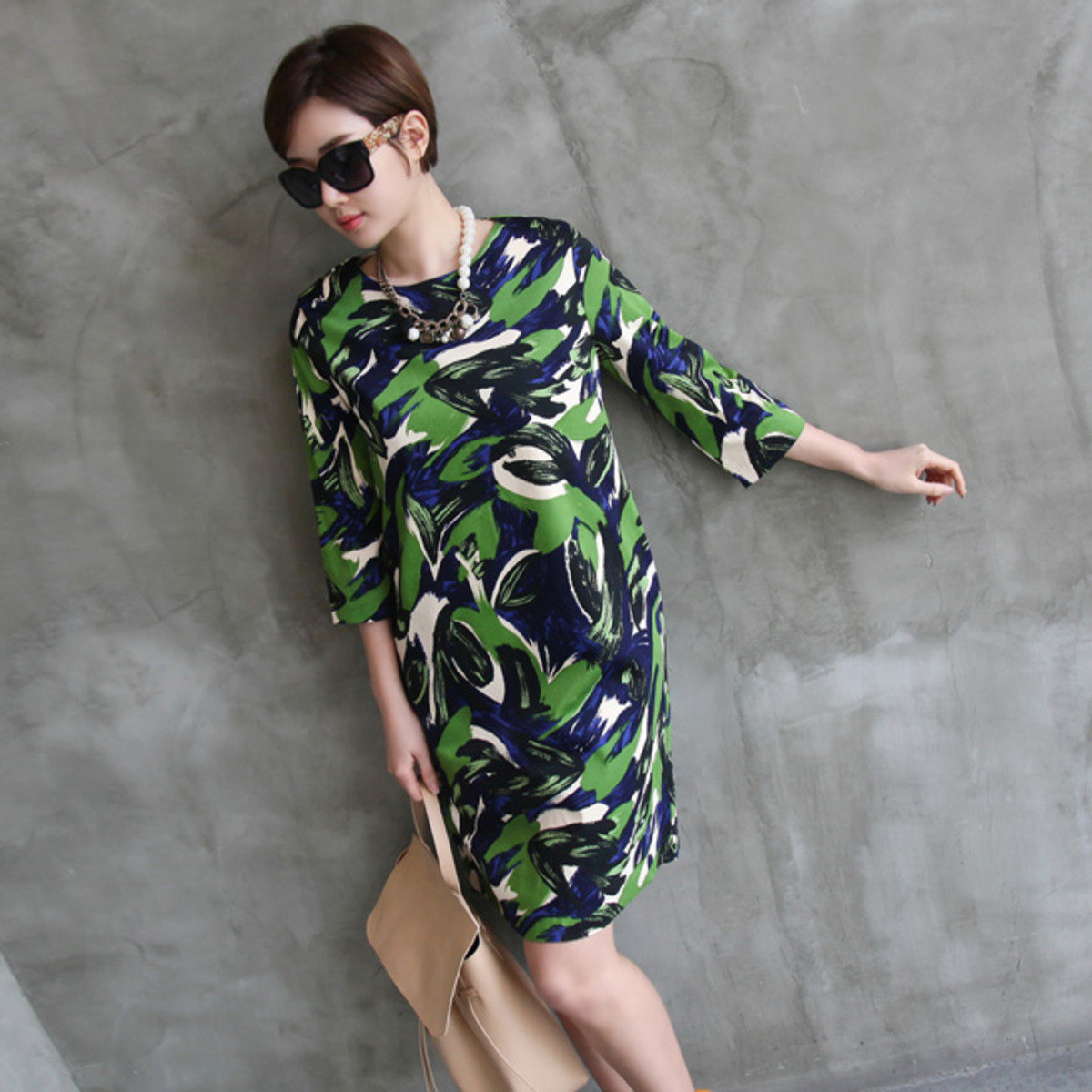雜色圖案連身裙_22660