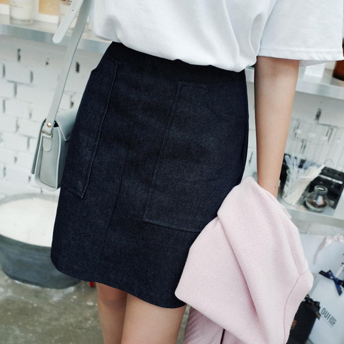 簡約純色半截裙_C62YESK10