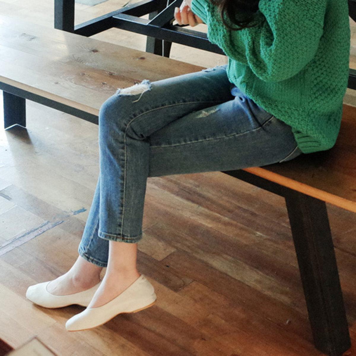純色絨面休閒平底鞋_C62PASH1