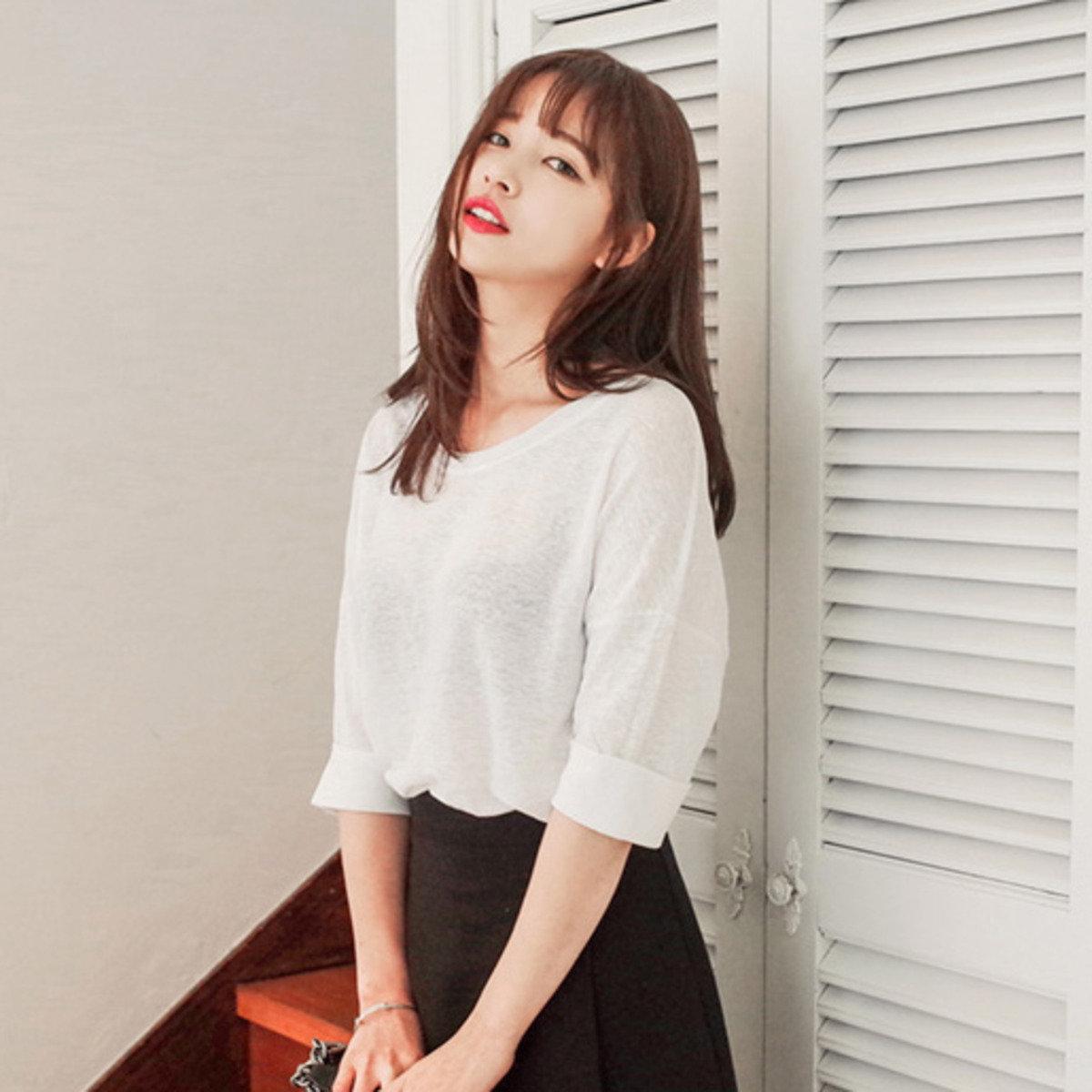 闊領純色短袖T恤_C63PSTE10