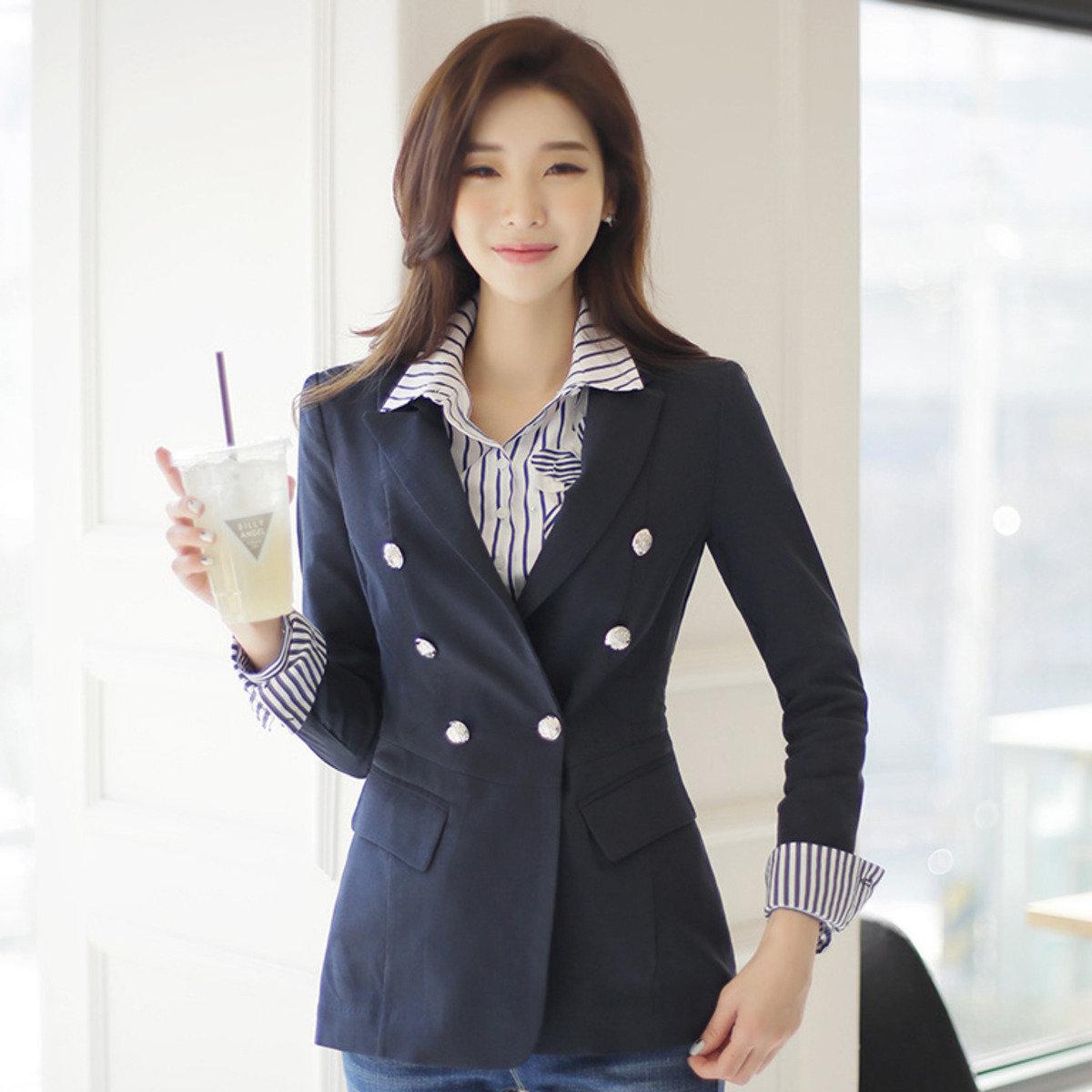 條紋袖口雙襟西裝外套_40128