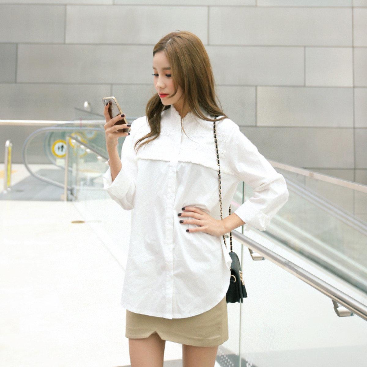 純色蕾絲紋恤衫_CR-T0914-73