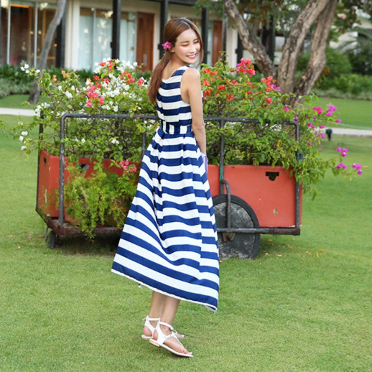 藍白橫間連身裙_CV-S1026003