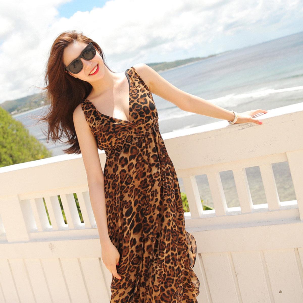 豹紋V領連身裙_CV-S1026010