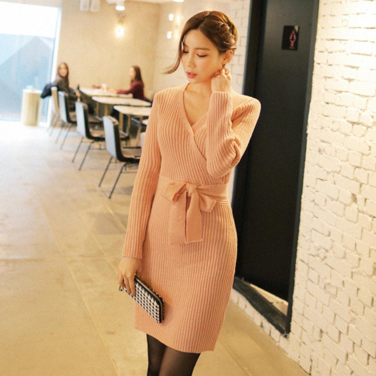 直紋低領綁帶連身裙_CV-20151222_022