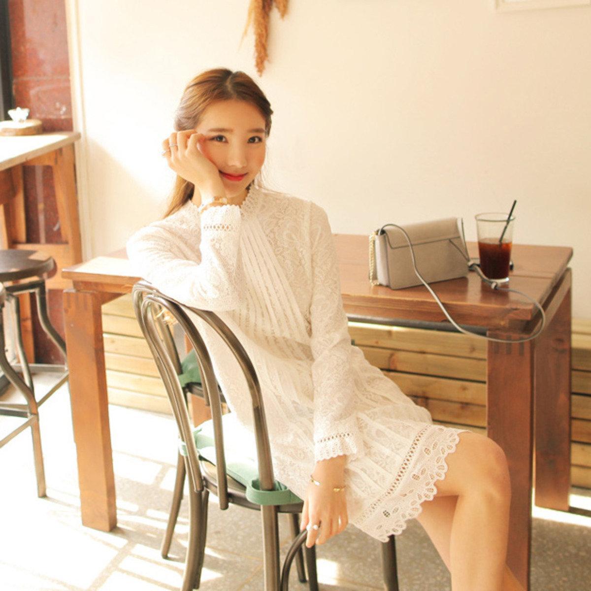 蕾絲皺褶連身裙_CV-20160210_053