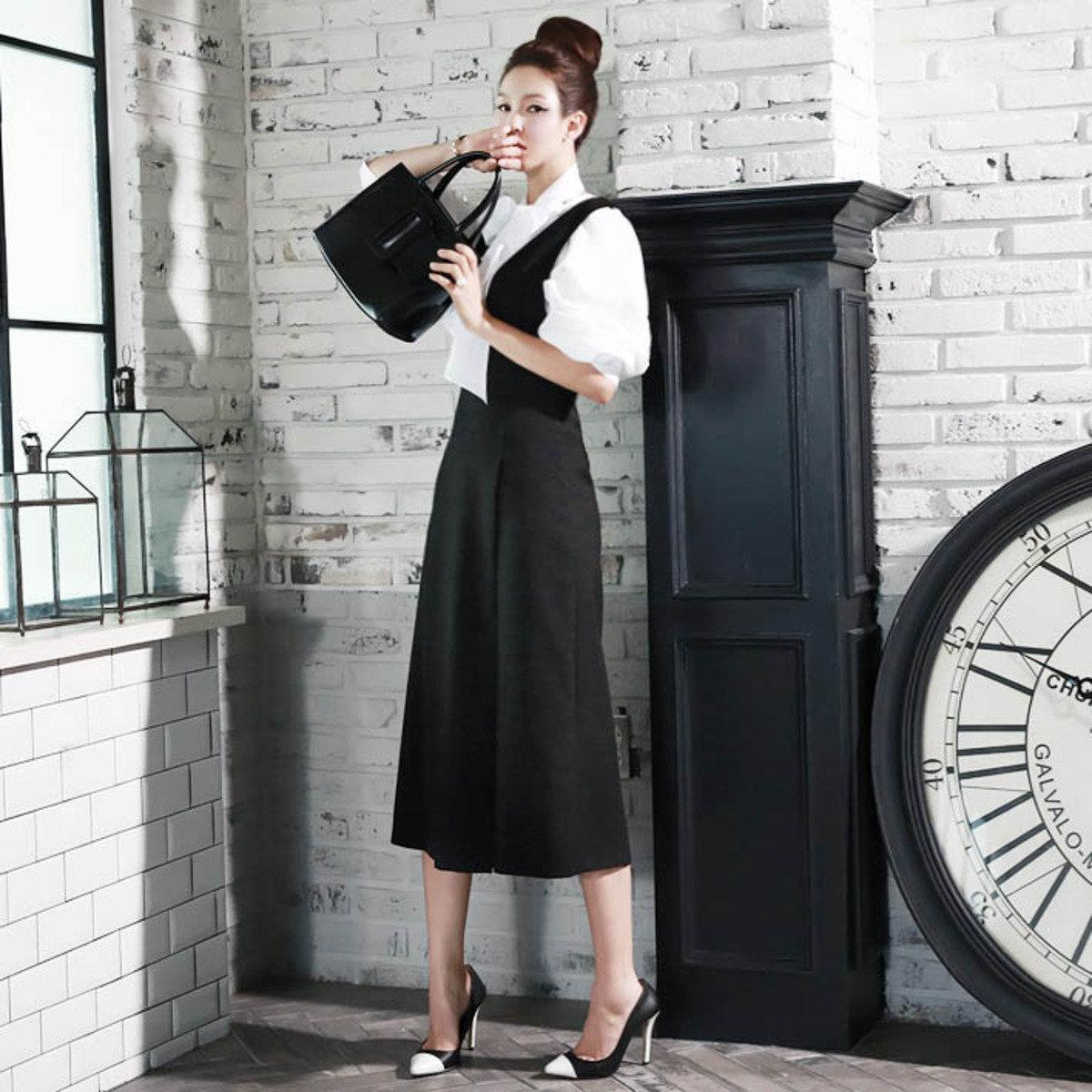 低V領背心連身裙_D2955