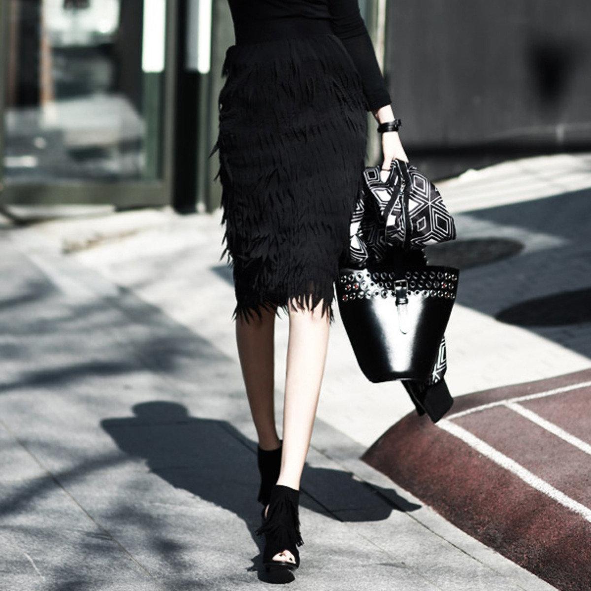 層疊鋸齒布條半截裙_SK1261