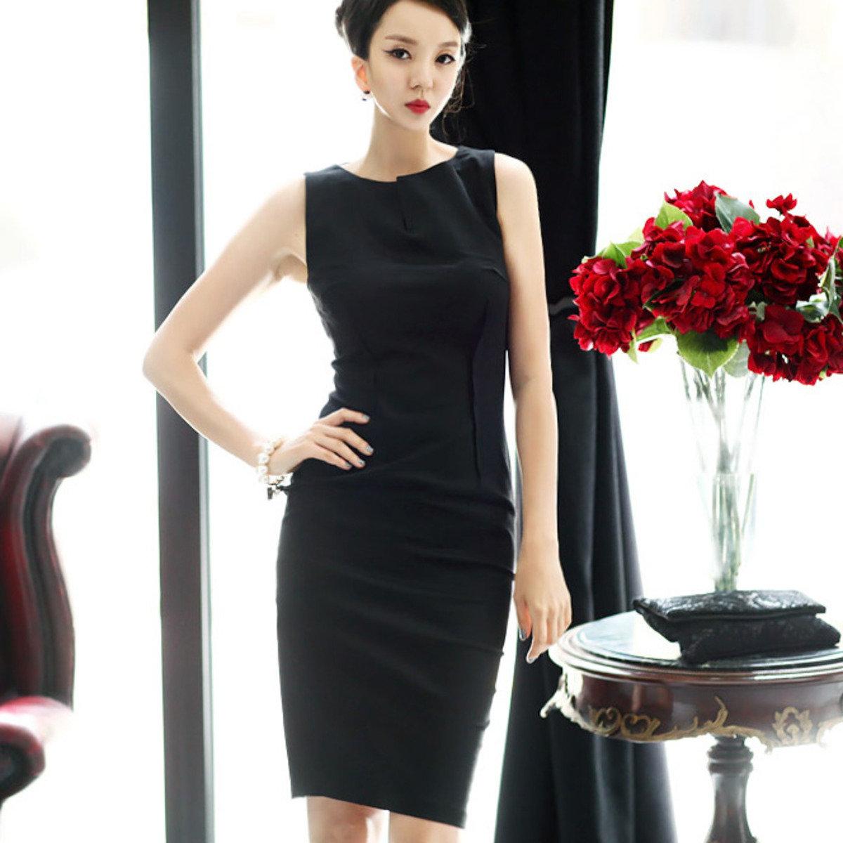 V領口貼身連衣裙_D2381