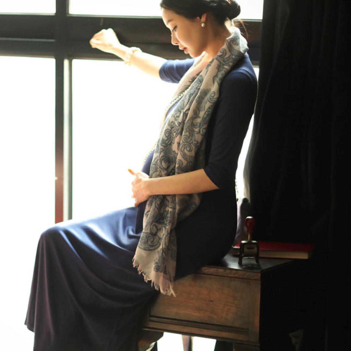 D-2076 _圓領貼身長款連身裙 (孕婦裝)_D-2076