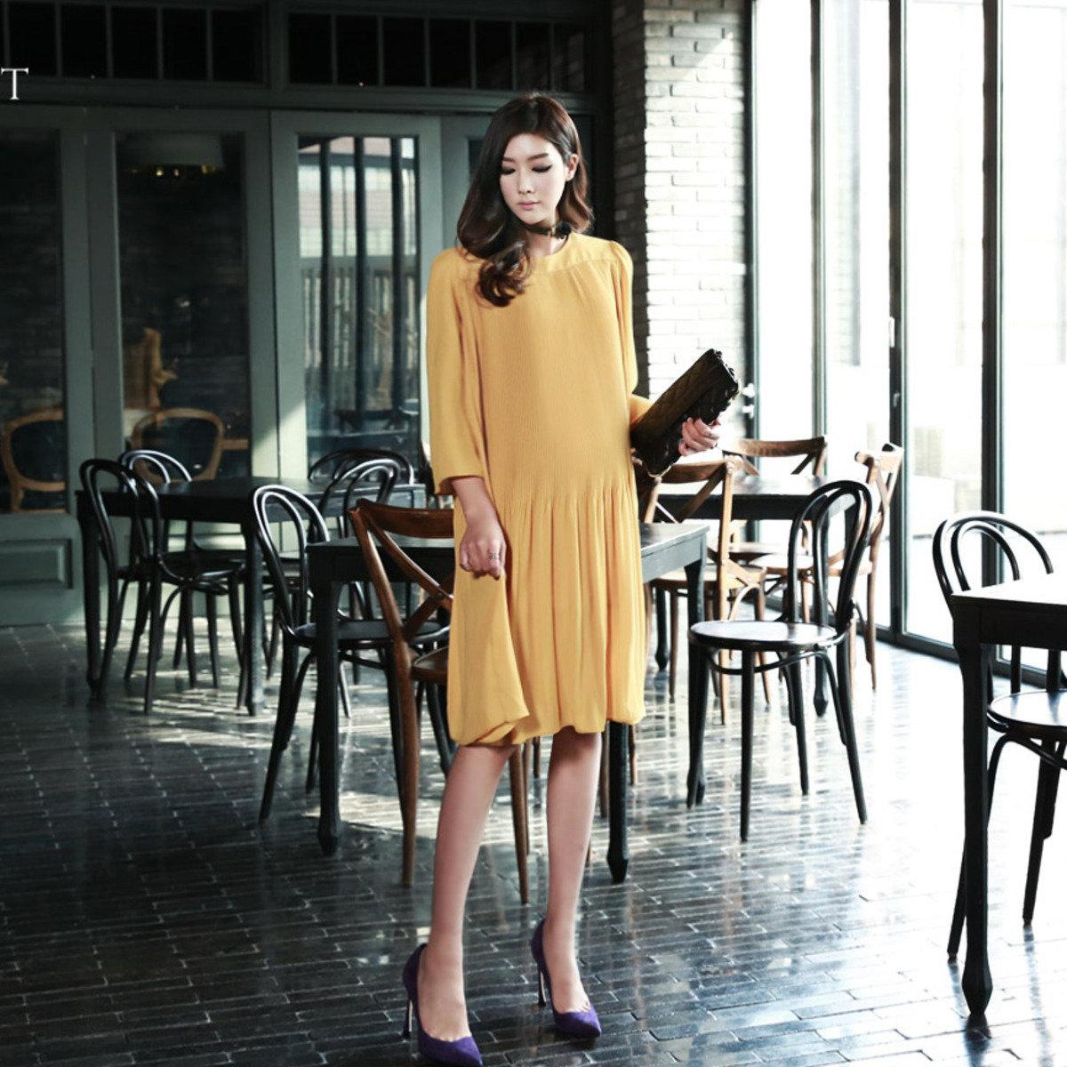 D-3719_壓褶連身裙 (孕婦裝)