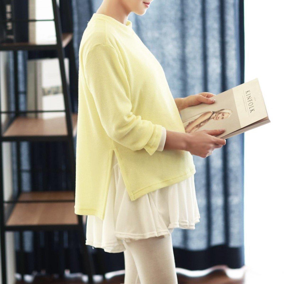 H-1131_兩側裂縫設計荷葉腳哺乳上衣 (孕婦裝)