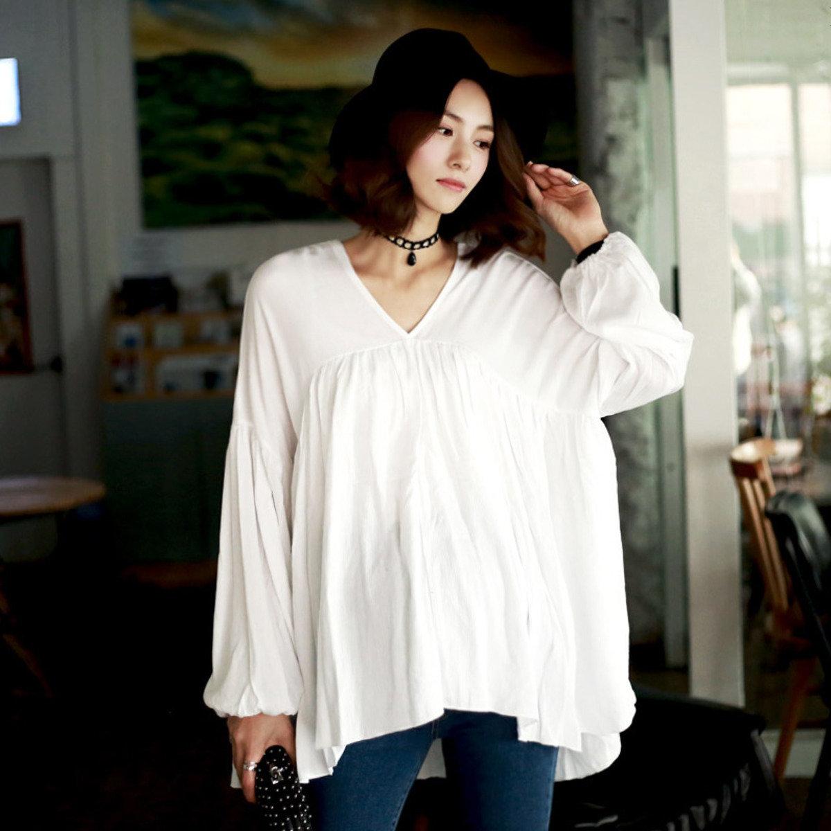 B-806_燈籠袖束褶襯衫 (孕婦裝)